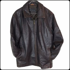 PERRY ELLIS Rich Chocolate Leather Bomber Jacket